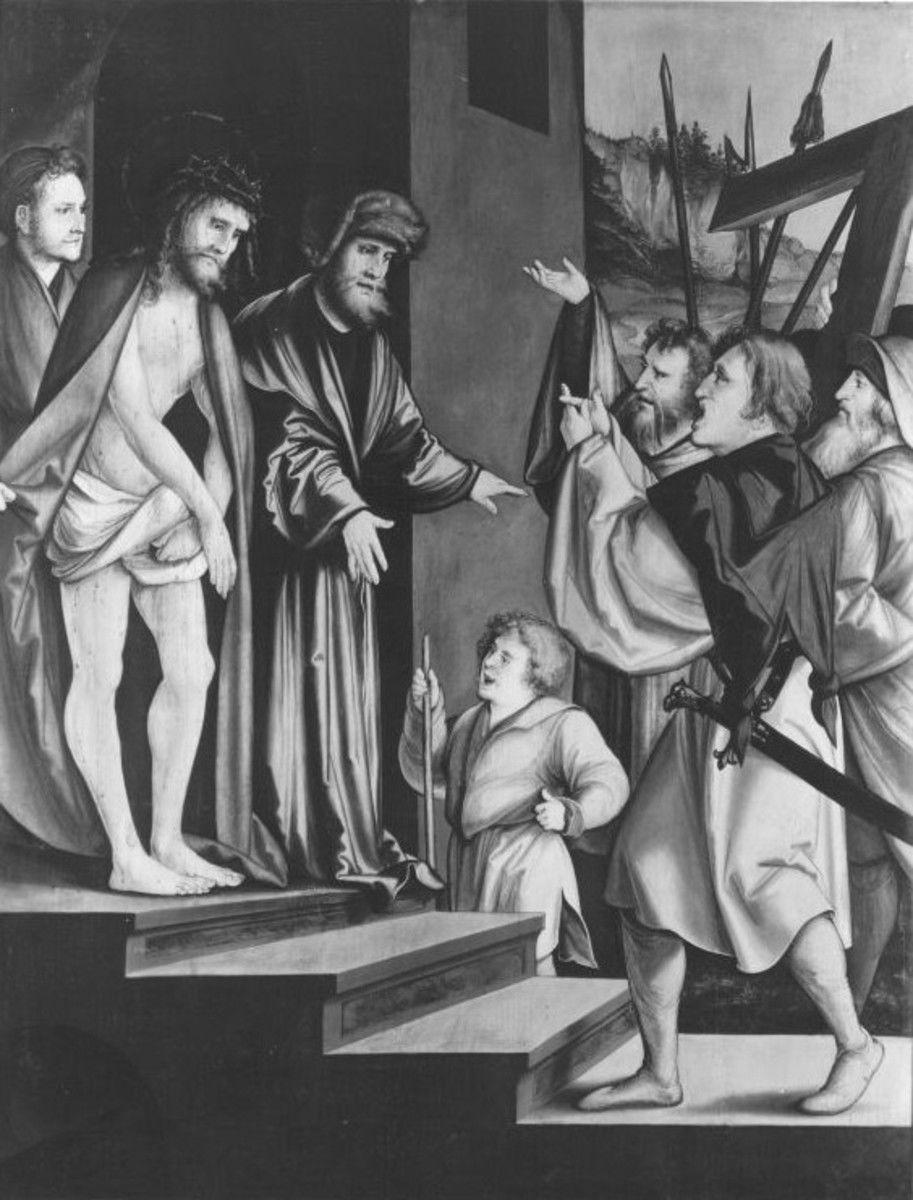 Christgartner Altar: Ecce homo Rückseite: Petrus heilt den Lahmen und erweckt Tabitha