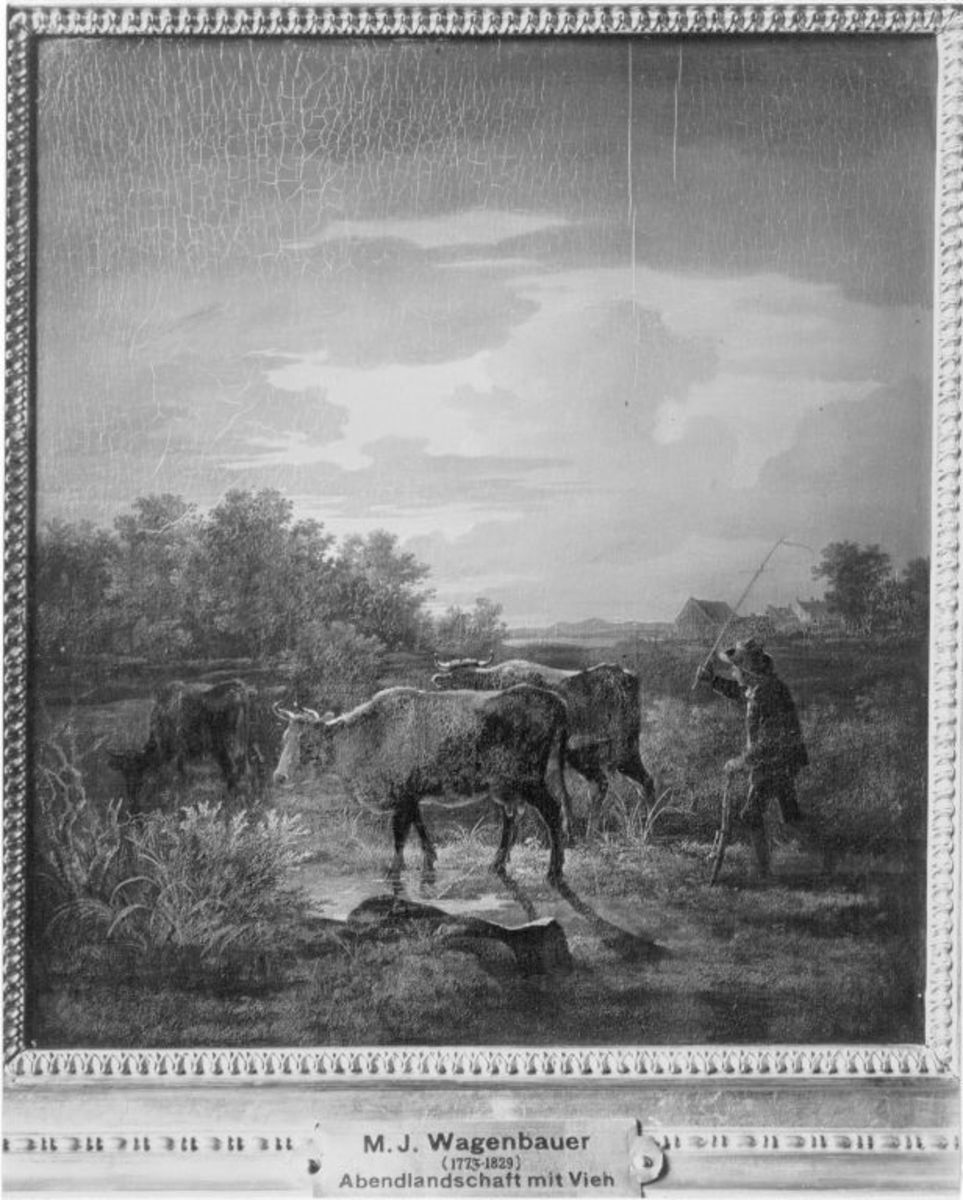 Abendliche Landschaft mit Hirt und drei Rindern