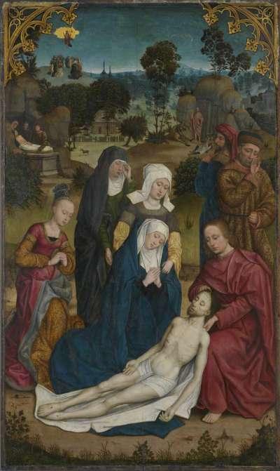 Kreuzigungsaltar: Beweinung Christi Außenseite: Fragment eines Engels, eines Apostels und Stifters