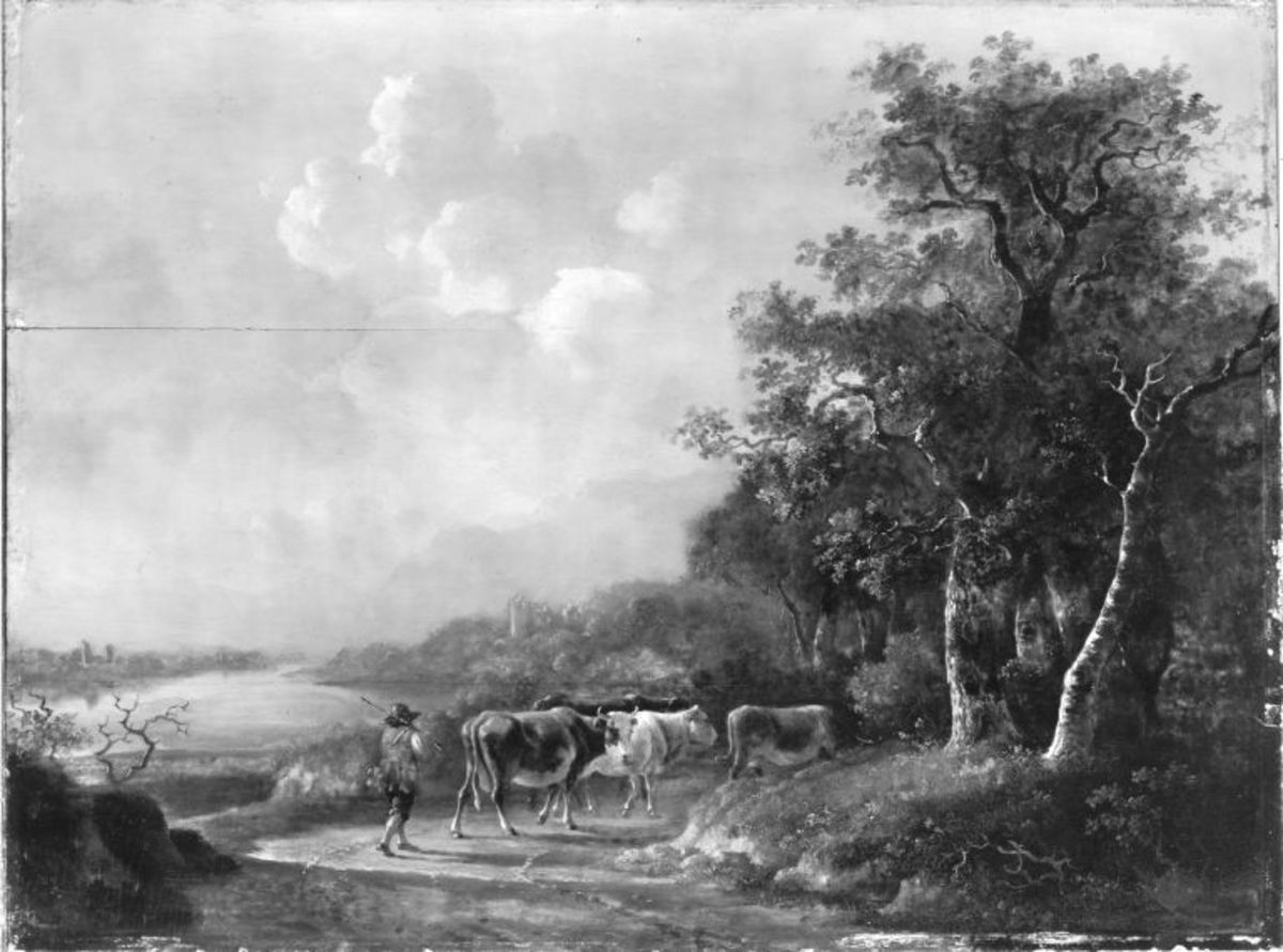 Kuhherde mit Hirt in einer Landschaft