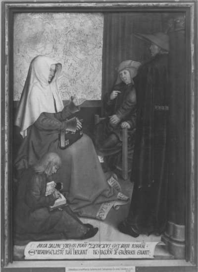Mindelheimer Sippenaltar: Maria Salome und Zebedäus mit Johannes d. Ev. und Jacobus d. Ä.