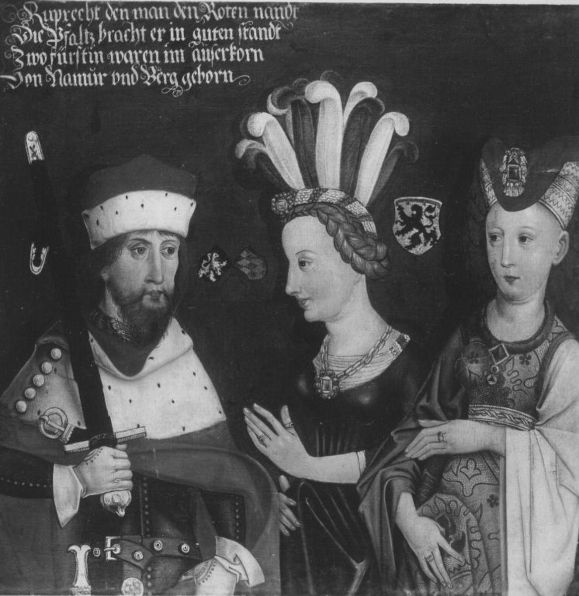 Bildnis des Kurfürsten Rupprecht I., mit Gemahlinnen Elisabeth und Beatrix