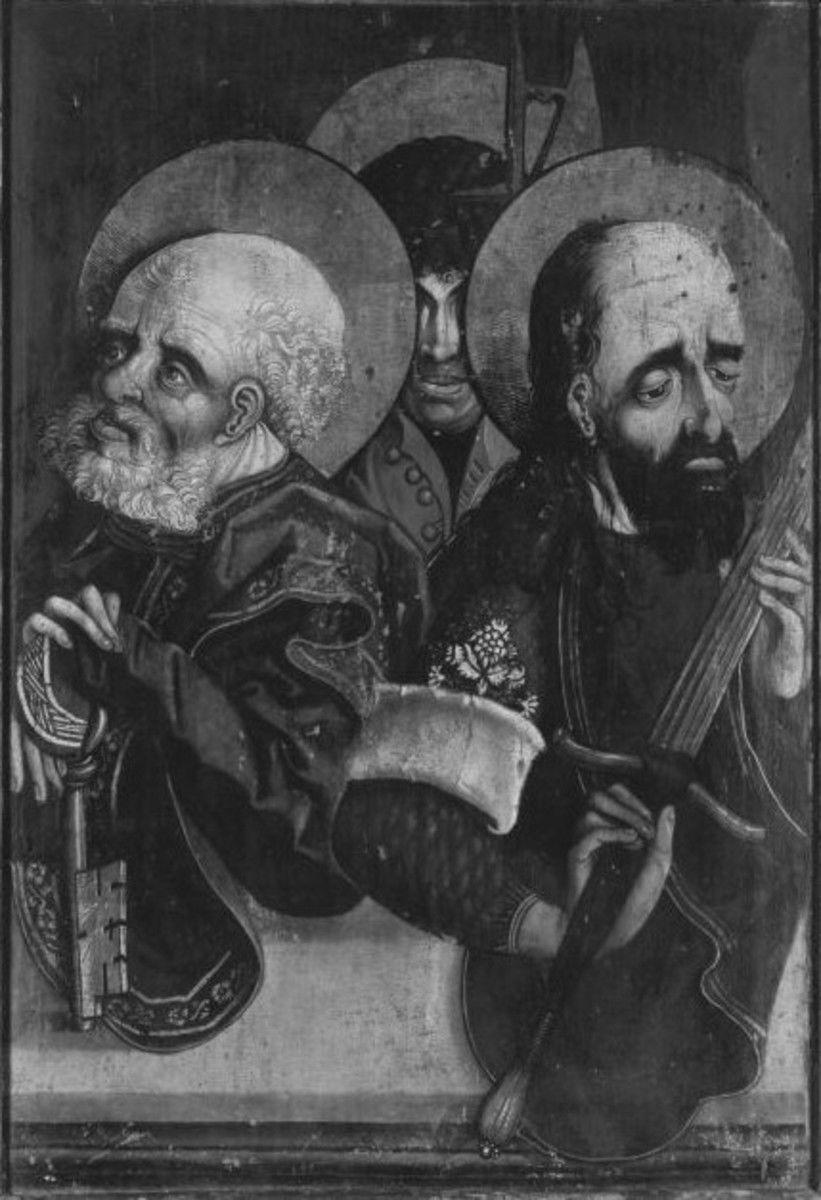 Hll. Petrus, Paulus und Matthäus (Rückseite: Enthauptung des hl. Norus)