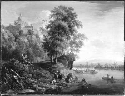 Flusslandschaft mit Burg