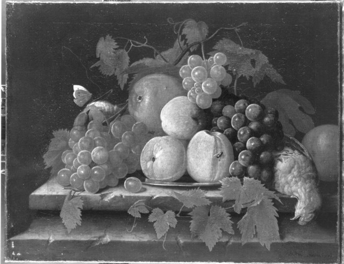 Stillleben mit Früchten und toten Vögeln
