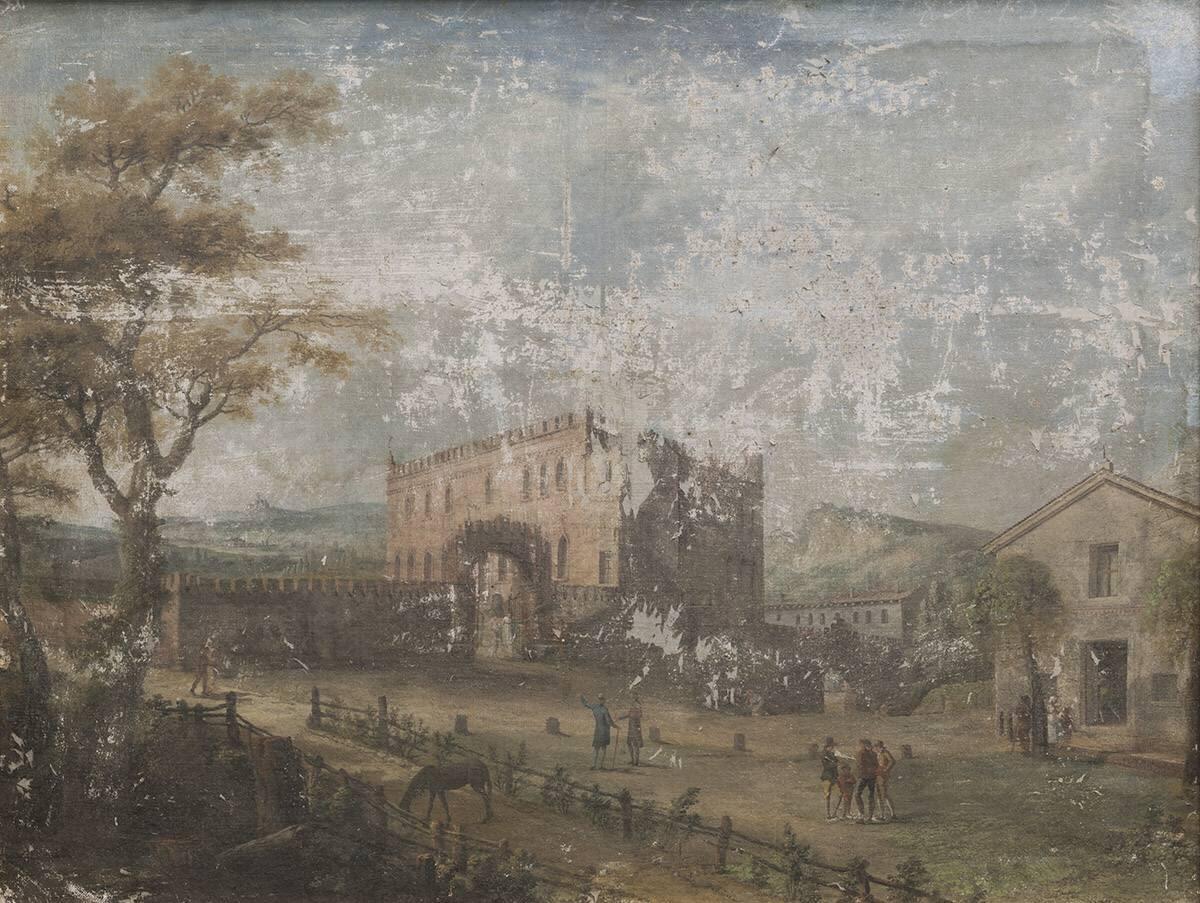 Italienische Landschaft mit einem Palast