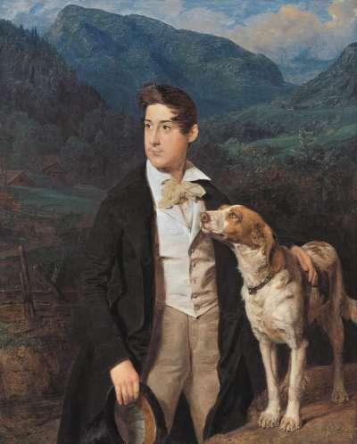 Waldmüllers Sohn Ferdinand mit Hund
