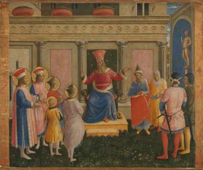 Anhörung der hll. Cosmas und Damian und ihrer Brüder vor Prokonsul Lysias