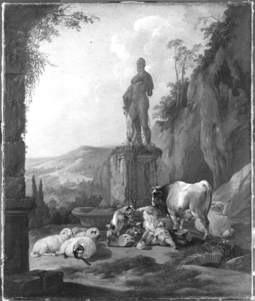 Viehherde vor einer antiken Statue
