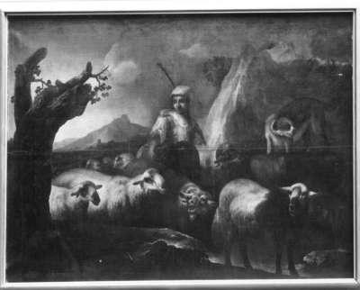 Heimziehende Herde mit Hirten