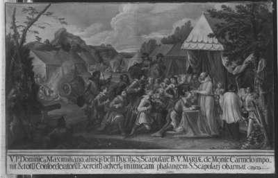 Pater Dominicus hängt Herzog Maximilian das Skapulier vom Carmel um