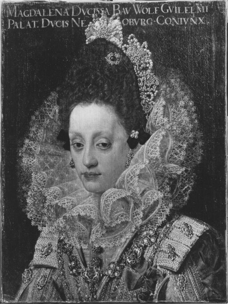 Bildnis der Herzogin Magdalena von Bayern, Gemahlin Herzog Wolfgang Wilhelms von Pfalz-Neuburg, im Hochzeitsstaat (1597-1628)