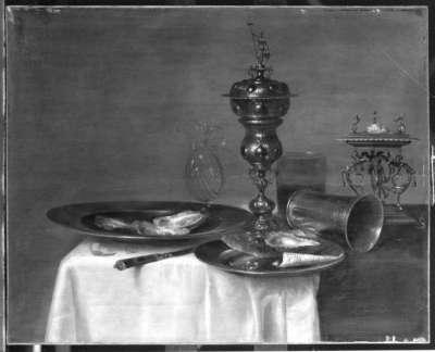 Stillleben mit Prunkpokal, Austern, Becher