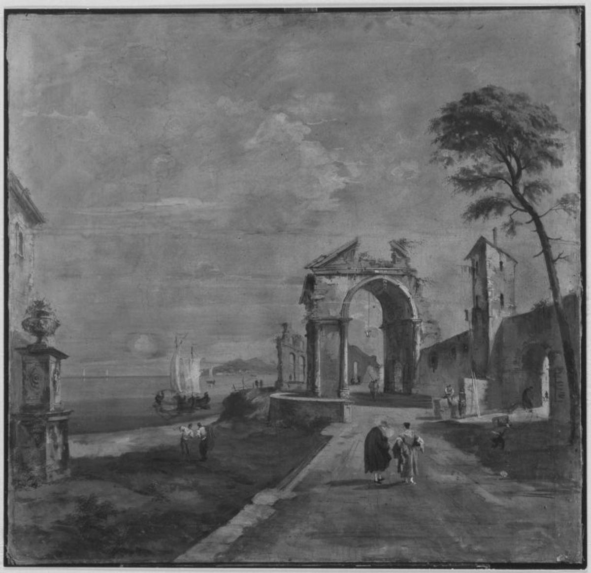 Küstenlandschaft mit Ruinen