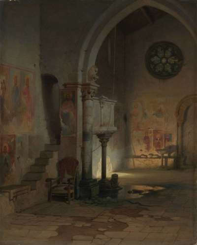 Das Innere einer Kirche in den Pontinischen Sümpfen (Sant' Antonio Abate in Priverno)