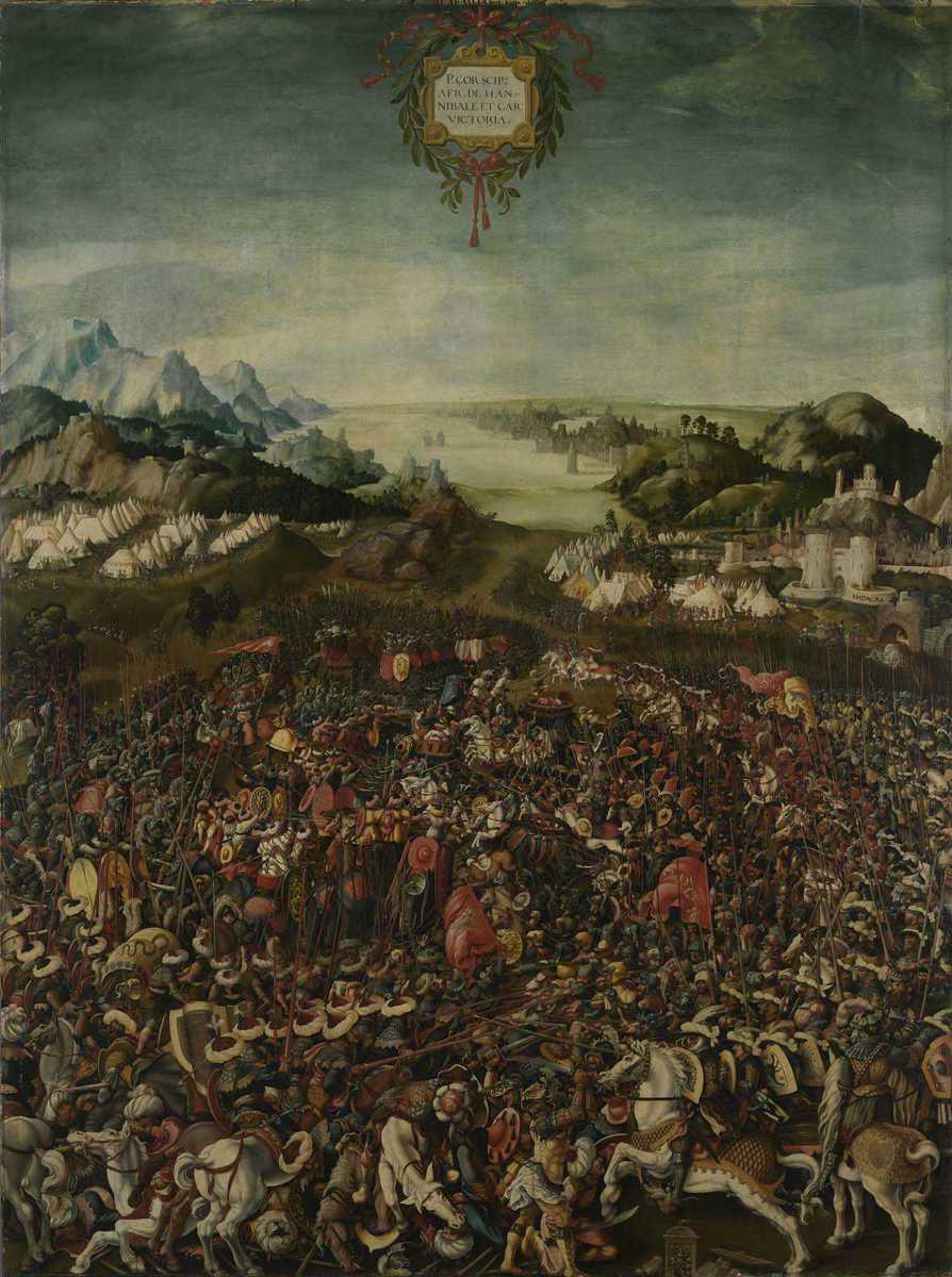 Historienzyklus: Der Sieg des P. Cornelius Scipio über Hannibal in der Schlacht bei Zama