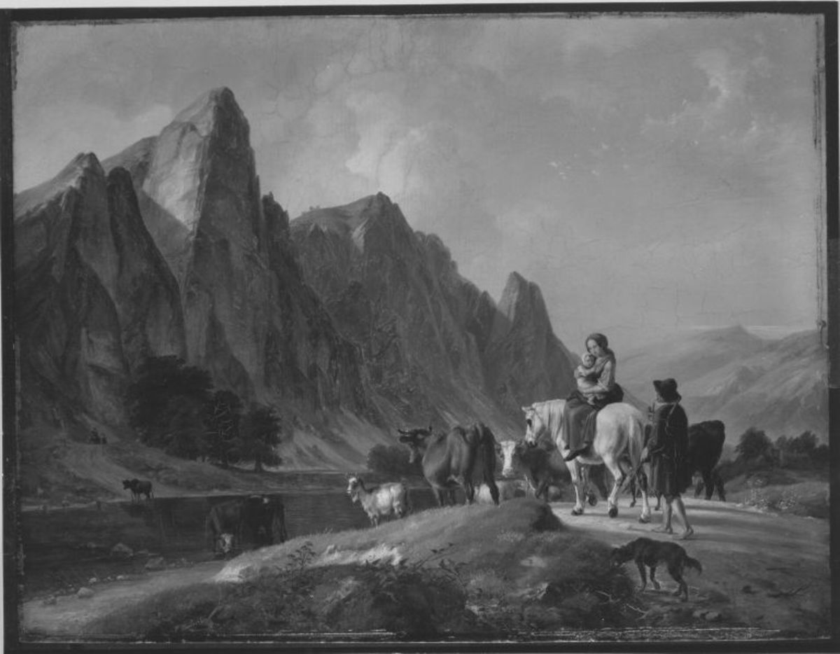 Gebirgslandschaft mit Viehherde an einer Furt
