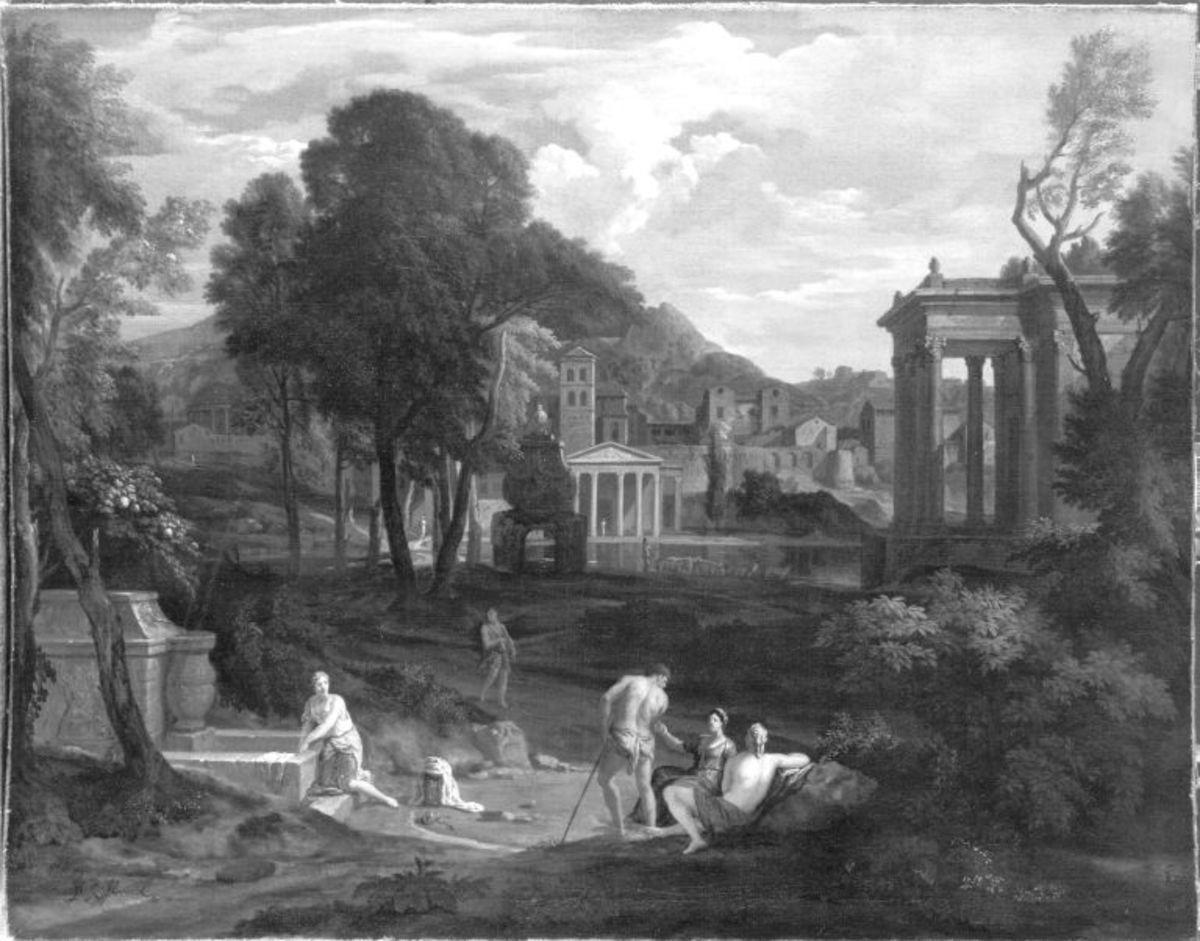 Arkadische Landschaft mit Tempel