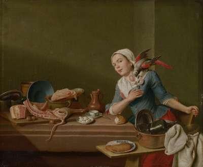 Küchenstillleben mit weiblicher Figur und Papagei (Das Gefühl)