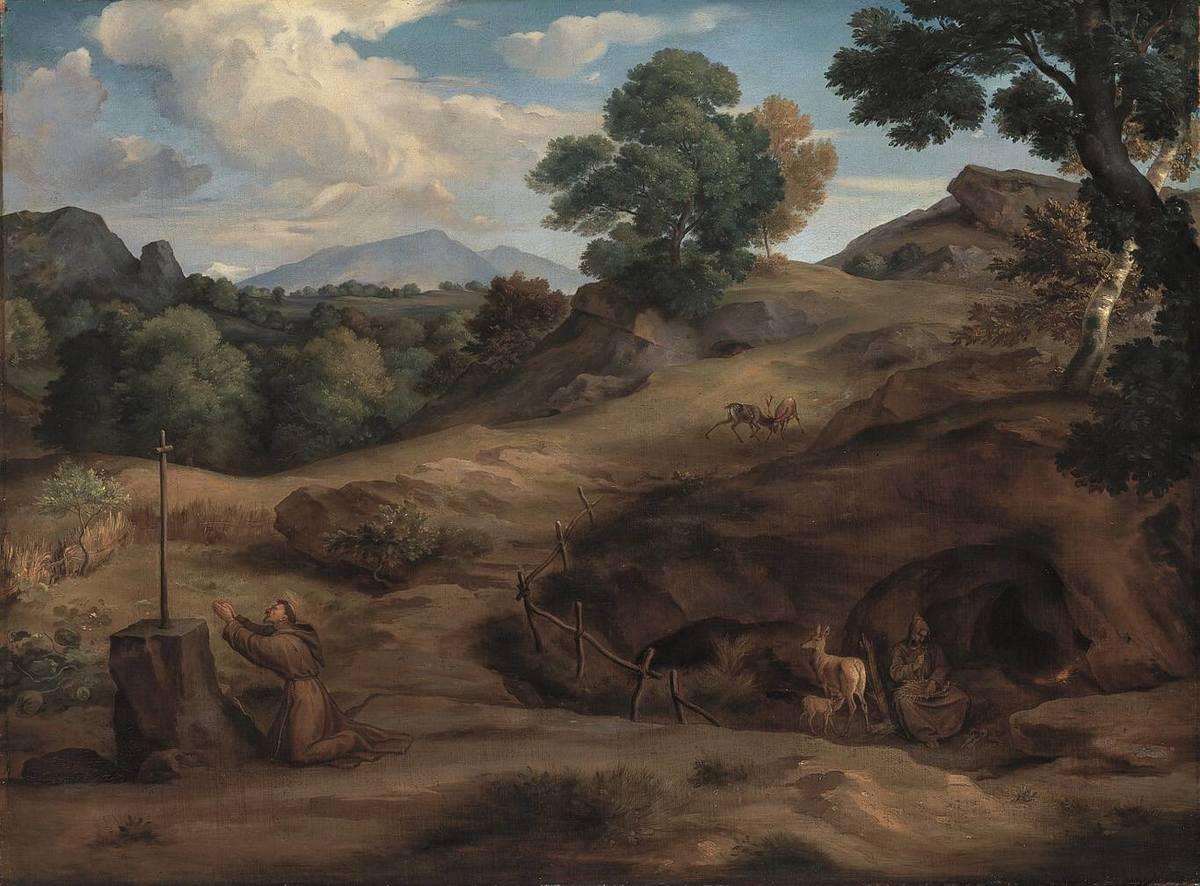 Südliche Landschaft mit Einsiedlern