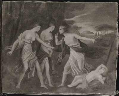 Landschaft mit drei Frauen und Amor