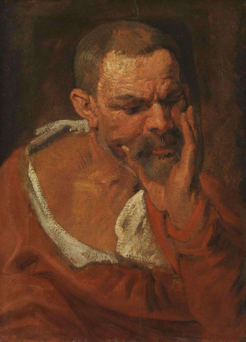 Studienkopf eines nach rechts unten blickenden Mannes, der sein Kinn in die Hand stützt
