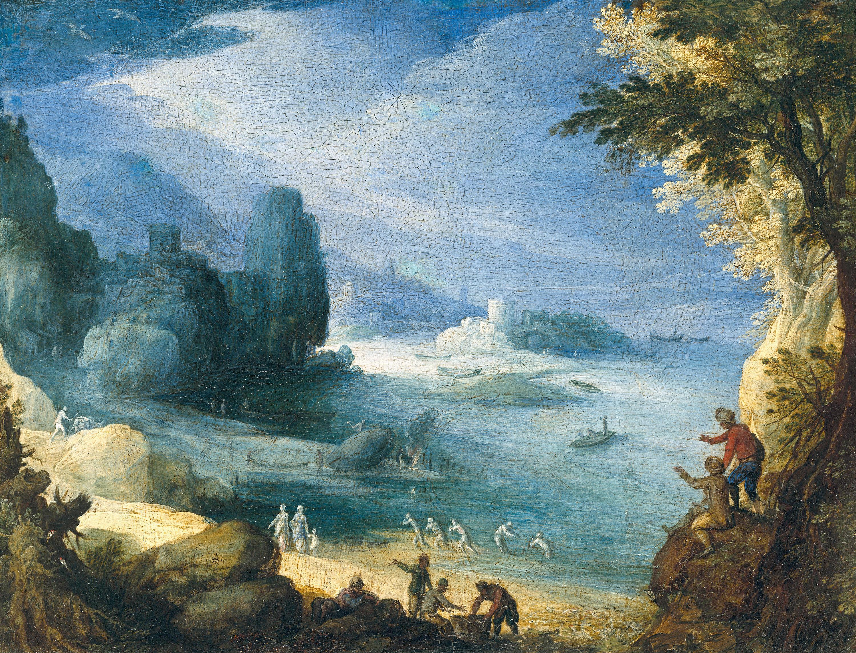 Landschaft mit Ausblick auf eine Meeresbucht