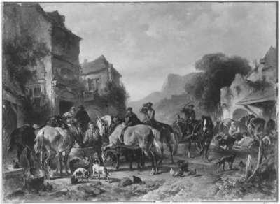 Vor dem Gasthof (Ruhende Reiter und Pferde)