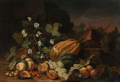 Stillleben mit Melonen und Weintrauben