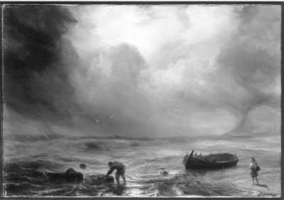 Meeresstrand mit Gewitterstimmung und zwei Schiffbrüchigen