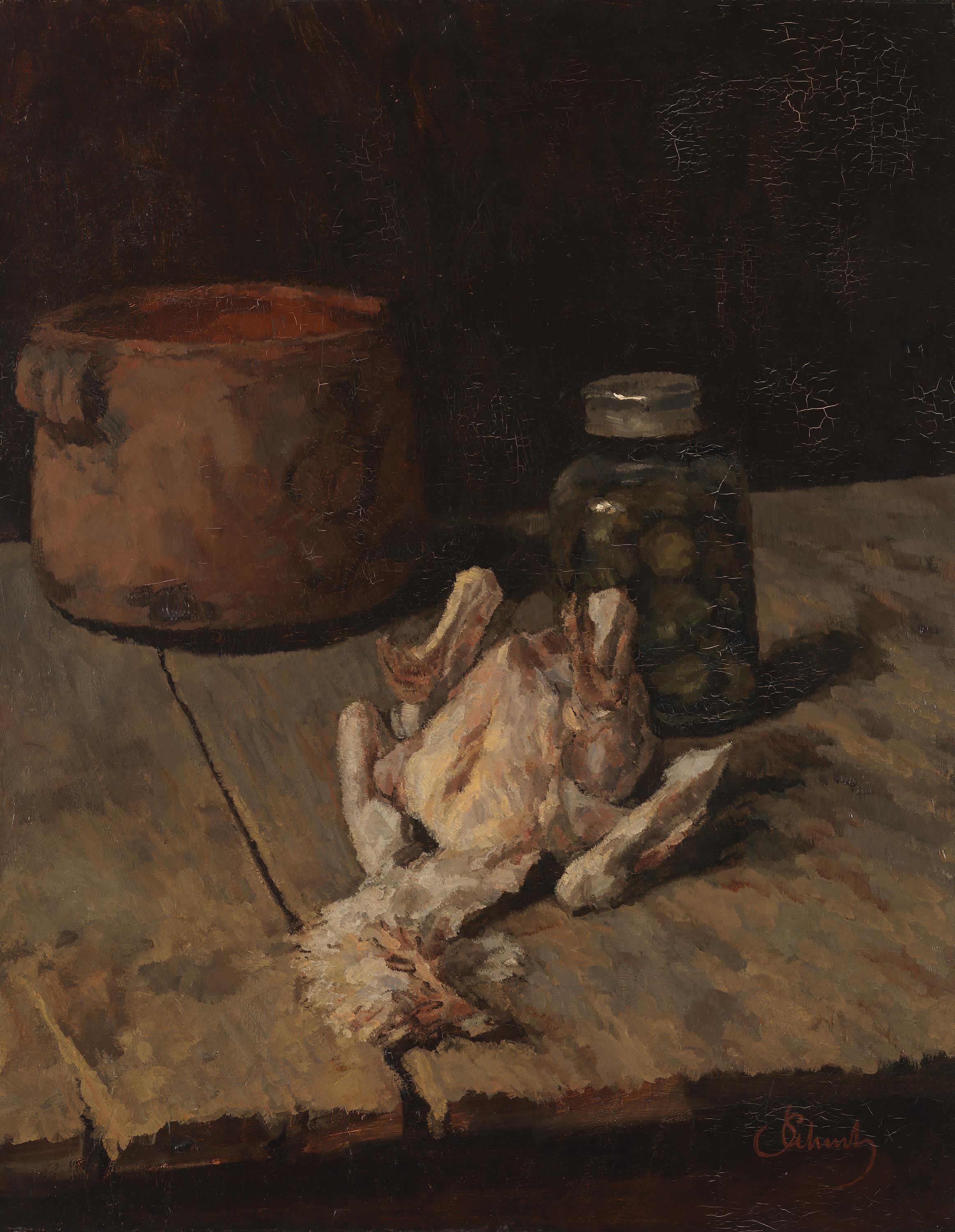 Stillleben mit gerupftem Huhn