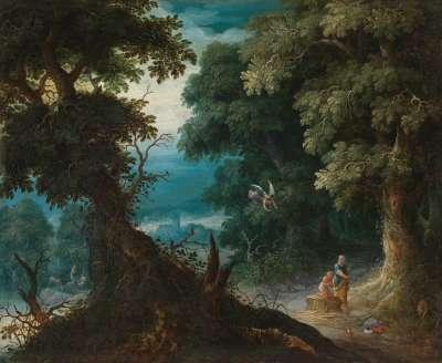 Waldlandschaft mit Abrahamsopfer