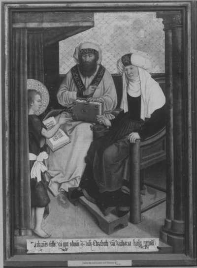 Mindelheimer Sippenaltar: Elisabeth und Zacharias mit Johannes dem Täufer