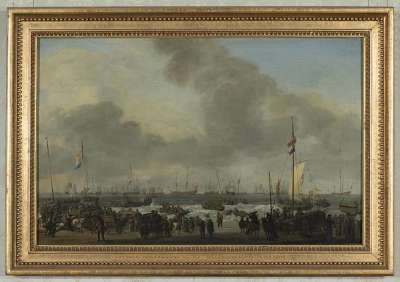 Holländische Flotte an der Küste