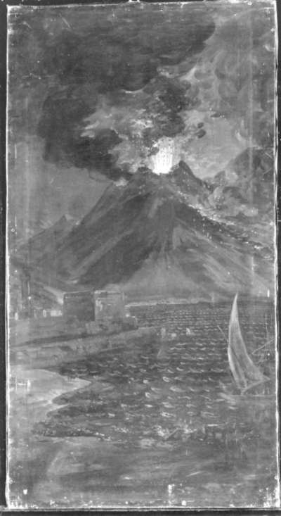 Neapel mit Feuer speiendem Vesuv