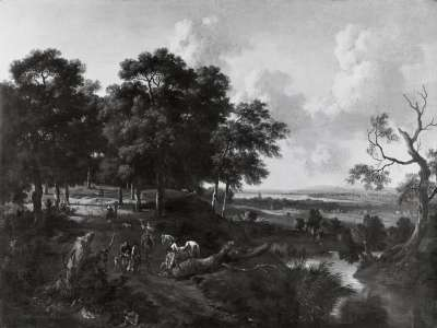 Landschaft mit Falkner