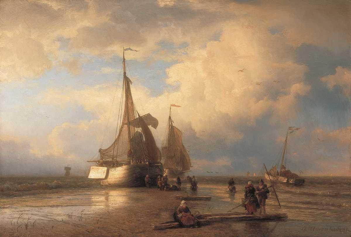 Strandbild mit Fischern