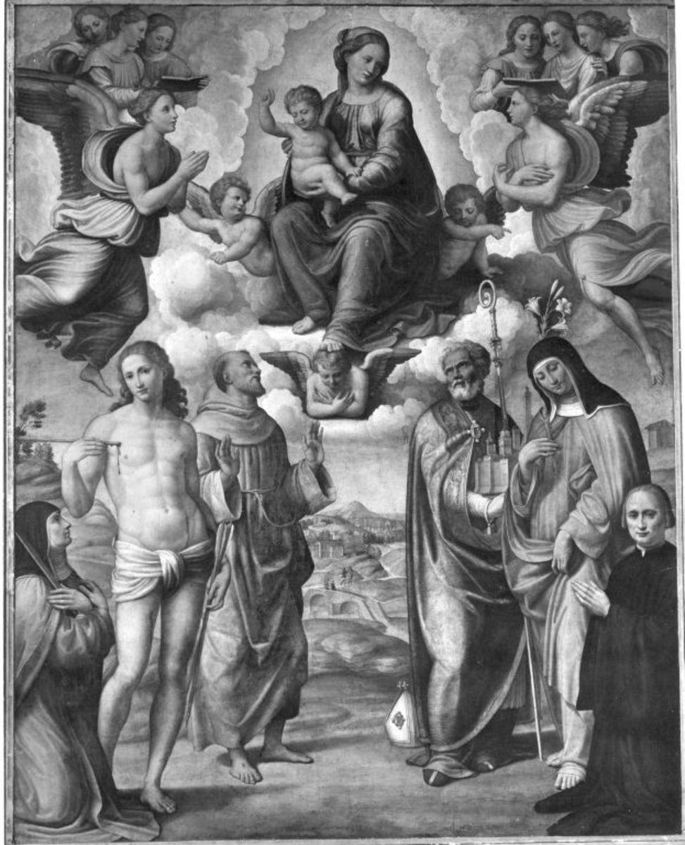 Maria mit Kind und den hll. Katharina von Siena, Sebastian, Franziskus, Petronius, Klara und Stifter
