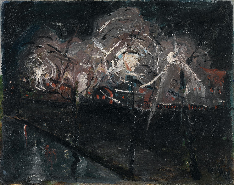 Landschaft mit Laternen (Nachtlandschaft)