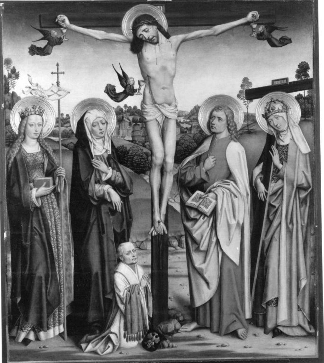 Christus am Kreuz, eine hl. Jungfrau, Maria, Johannes Ev., die hl. Helena und ein Stifter