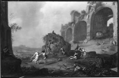 Landschaft mit Ruine der Basilika des Constantin