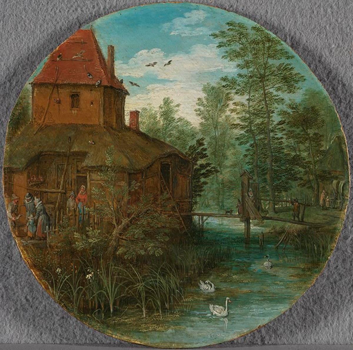 Landschaft (Gehöft am Bach)