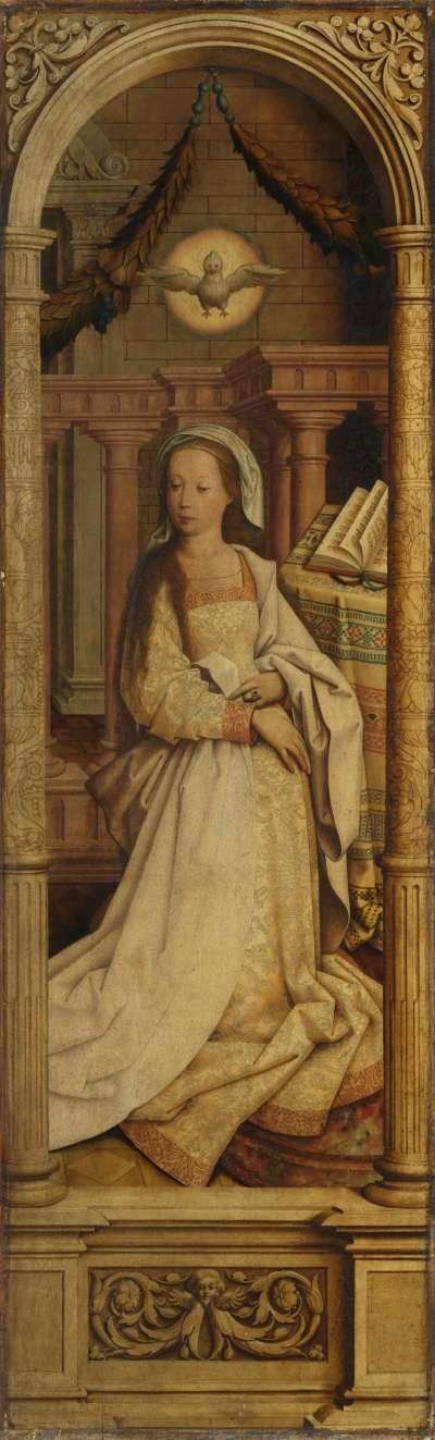 Sebastiansaltar, rechter Flügel: Die hl. Elisabeth Rückseite: Maria der Verkündigung