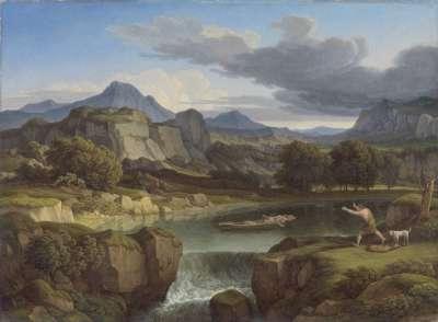 Gewitterlandschaft mit Gebirgssee und Wasserfall