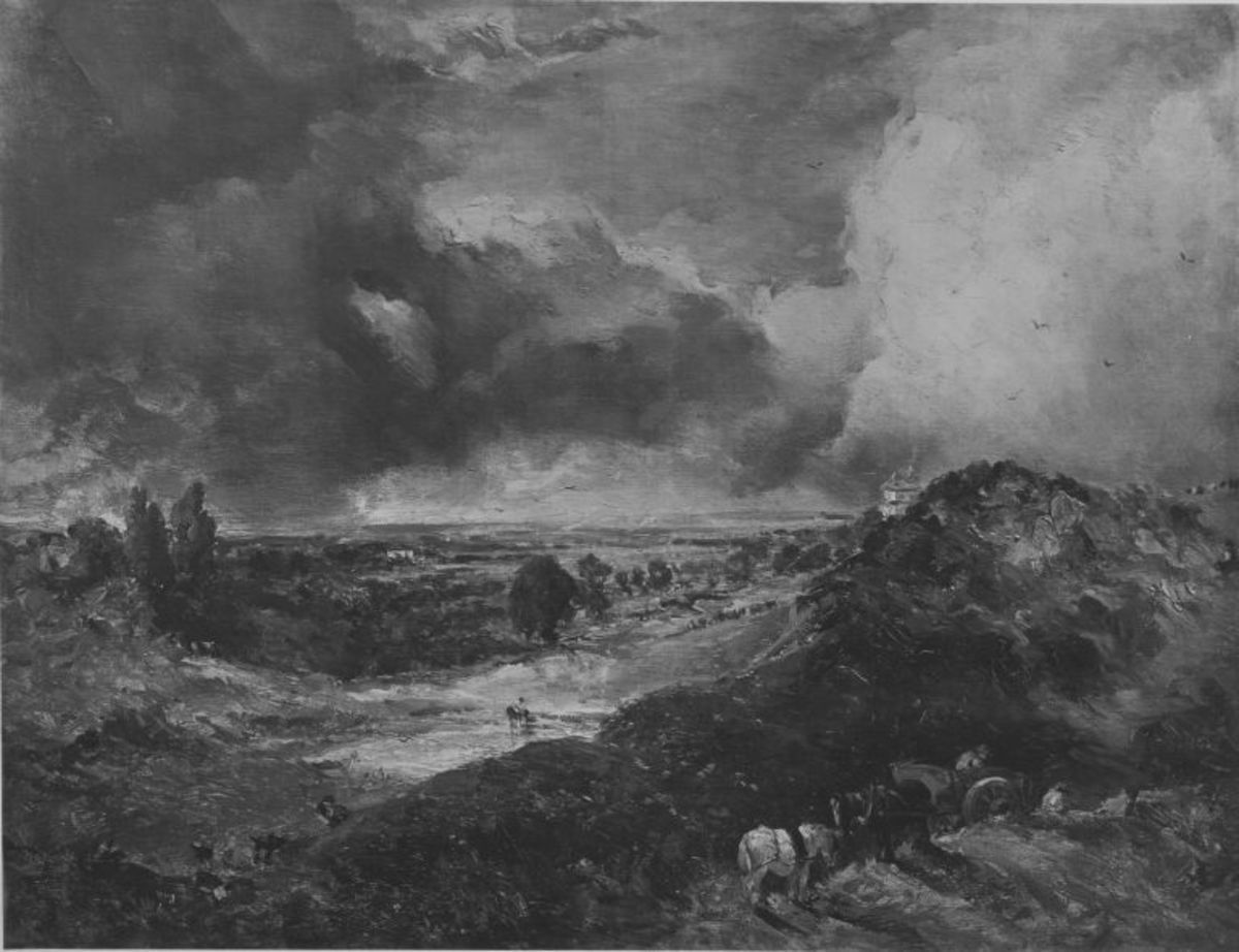 Landschaft mit Fernblick und Gewitterhimmel (Hampstead Heath mit Branch Hill Pond)