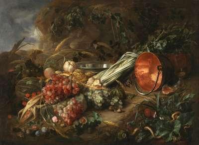Waldbodenstillleben mit Früchten und Kupferkessel