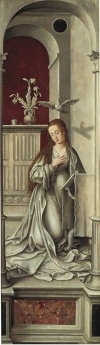 Rehlinger-Altar, rechter Flügel, Außenseite: Maria der Verkündigung