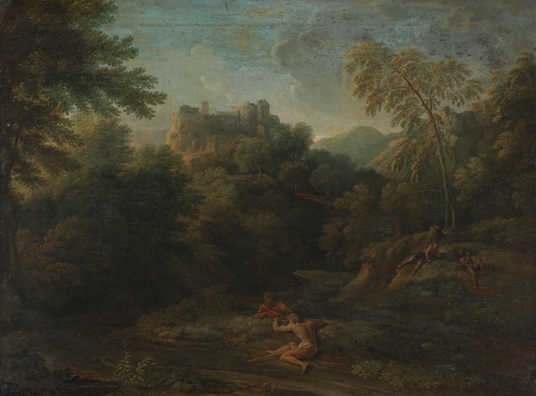 Landschaft mit Bergschloss