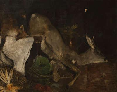 Jagdstillleben mit Fuchs und Rehbock