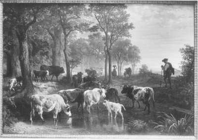 Heimkehr der Herde an einem Herbstabend